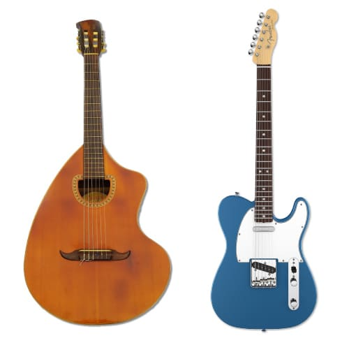 Left - <i>CraViola</i>, 1969, design by Paulinho Nogueira, manufactured by Giannini</br> Right - <i>Telecaster</i>, 1949, design by Leo Fender, manufactured by Fender Musical Instruments